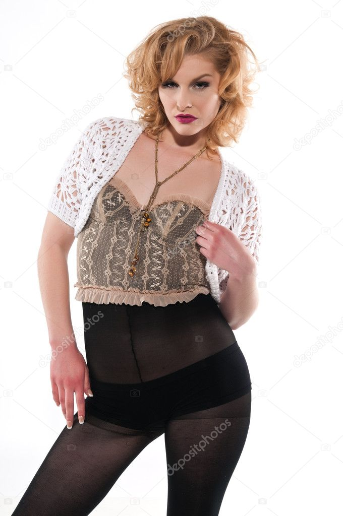 Beautiful young blonde in bustier and tights — Stock Photo #9053191