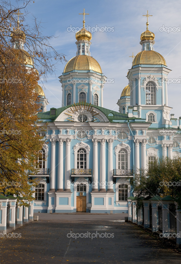 Nikolsky Cathedral autumn day. Saint-Petersburg — Stock Photo #10378453