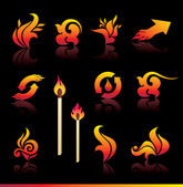 Set of vector fire elements — Stock Vector