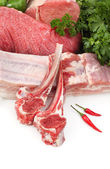 Assortment of raw meats — Stock Photo