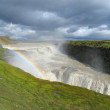 waterfall gullfoss with rainbow — Stock Photo