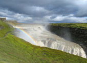 Waterfall Gullfoss with rainbow — Foto de Stock