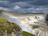 Waterfall Gullfoss with big rainbow — Foto de Stock