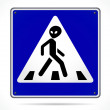 Alien Crossing Sign — Stock Vector