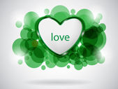 Green love card — Stock Vector