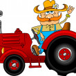 Farmer and red tractor — Stock Vector