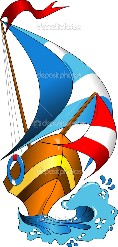 Beautiful; colorful boats on the sea wave (vector illustration);  Stock Vector #10463678