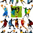 Stock Vector: Collection of basketball stars