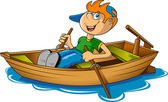 Boy and boat — Stock Vector