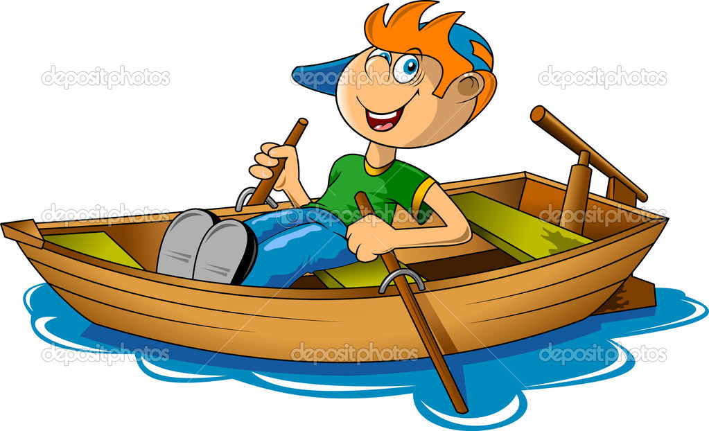 Small fisherman on a big boat. (vector illustration); — Stock Vector #10495249