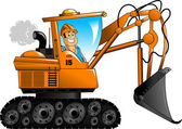 Orange excavator — Vetor de Stock