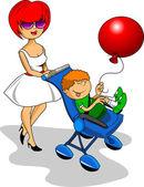 婴儿推车和妈妈 — 图库矢量图片