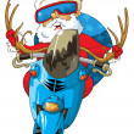 Santa Claus a motorbike — Stock Vector