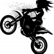 Stock Vector: Girl on a black motorcycle