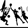 Silhouettes of basketball players - Stock Vector