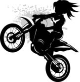 Girl on a black motorcycle — 图库矢量图片