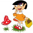 Girl and mushroom - Stock Vector