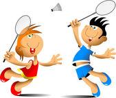 Funny badminton — Stock Vector