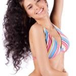 Happy young woman in bikini isolated — Stock Photo #10069656