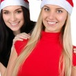 Two happy christmas girls isolated — Stock Photo