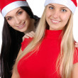 Two happy christmas girls isolated - Stock Photo