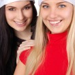 Two happy christmas girls isolated — Stock Photo #7991827