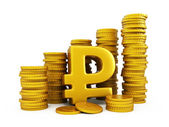Rouble golden coins — Stock Photo