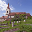 Old rural cemetery with church — Stock Photo
