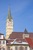 Church tower in Medias Transylvania Romania — Stock Photo