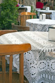 Restaurant tables and chairs old style — Stock Photo