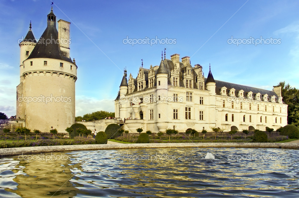 Chenonceau castle Loire valley Cher river France — Stock Photo #9143296