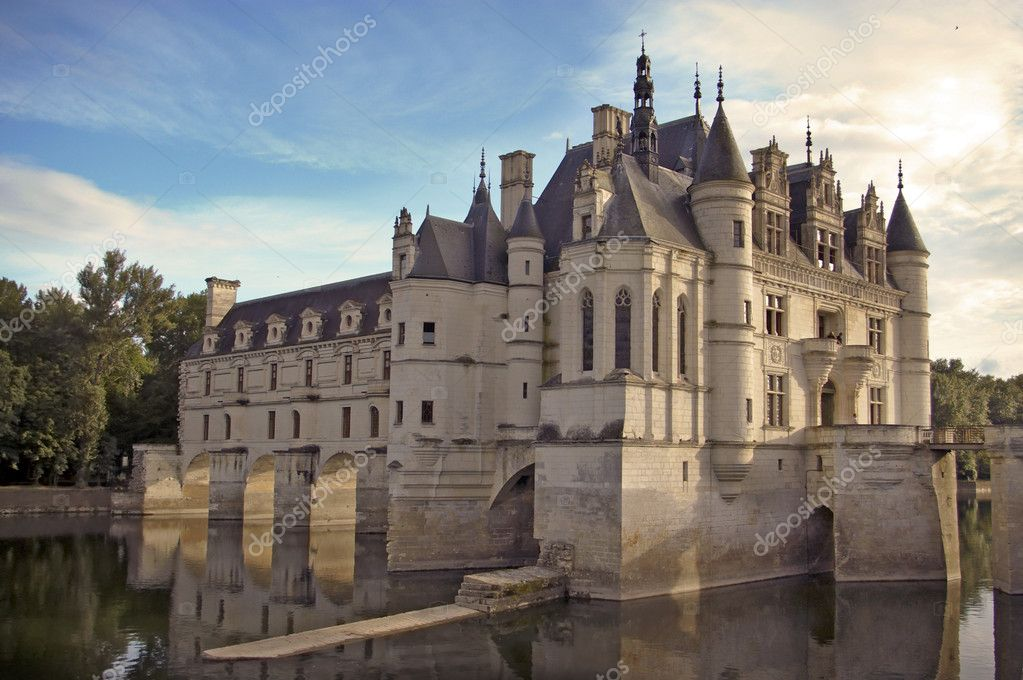 Chenonceau castle Loire valley Cher river France — Stock Photo #9143320