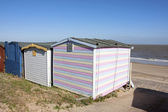 Beach hut and view to sea — Stok fotoğraf