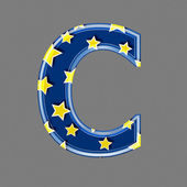 3d letter with star pattern - C — Stock Photo