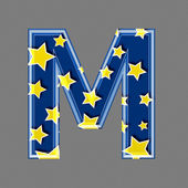 3d letter with star pattern - M — Stock Photo