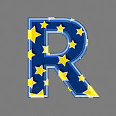 3d letter with star pattern - R — Stockfoto