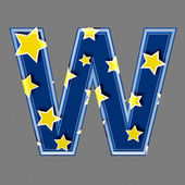 3d letter with star pattern - W — Stock Photo