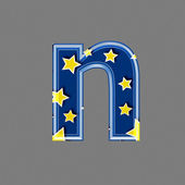 3d letter with star pattern - N — Stock Photo