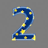 3d digit with star pattern - 2 — Stock Photo
