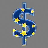 3d dollar sign with star pattern — Stock Photo