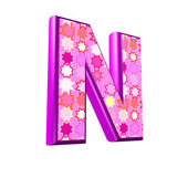 3d pink letter isolated on a white background - n — Stock Photo