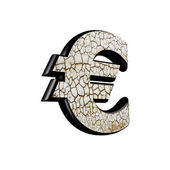 Abstract 3d currency sign with dry ground texture - euros curren — Stock Photo