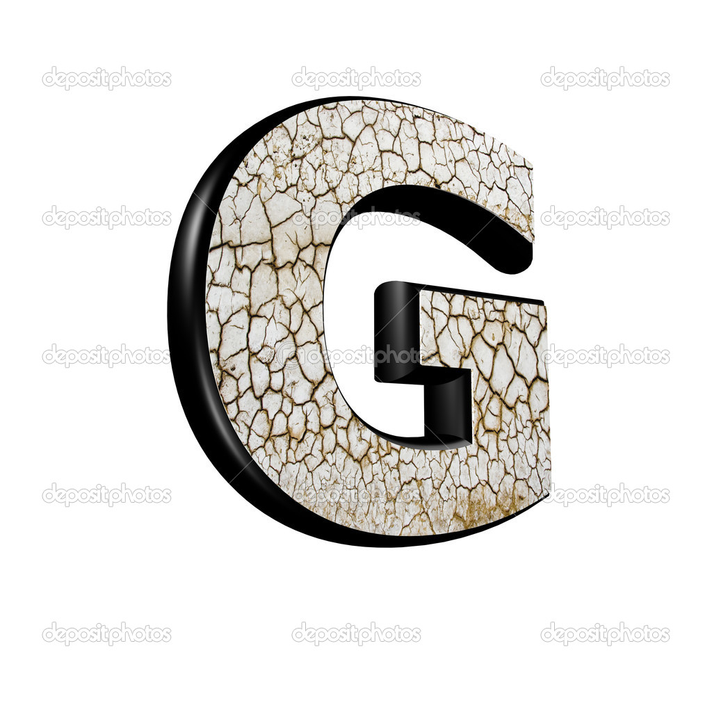 Abstract 3d letter with dry ground texture - G — Foto Stock #9334980
