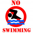 No swimming sign — Foto Stock