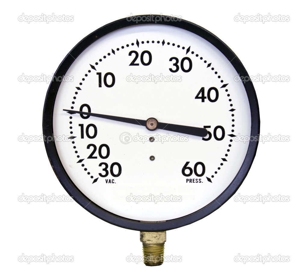 Vacuuum pressure gauge isolated over a white background with a clipping path at original size — Stock Photo #7970039