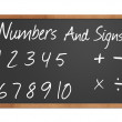 Numbers and signs on blackboard - Stock Photo