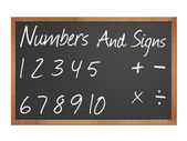 Numbers and signs on blackboard — 图库照片