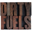 Stock Photo: Dirty fuels in letterpress wood type