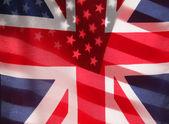 Transparent U.S. and UK flags — Stock Photo