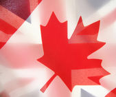 Flags of Canada and the UK — Stock Photo